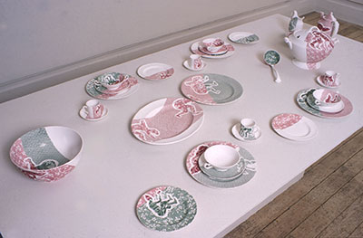 'Dinner Service' unique, copper engraved tissue transfer from Spode archive on Spode china ware